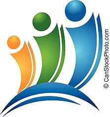 logotipo, felice, concetto, amici