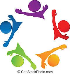 logotipo, felice, lavoro squadra, persone affari