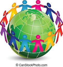 logotipo, felice, persone, intorno, mondo