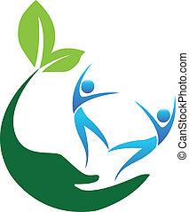 logotipo, felice, persone, sano