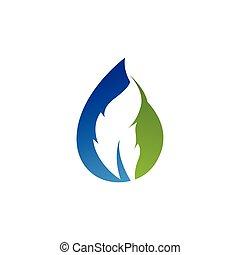 logotipo, foglia, goccia, vettore, acqua