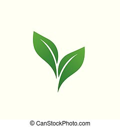 logotipo, foglia verde, elemento, ecologia, vettore, icon., natura