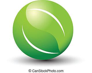 logotipo, foglie, mondo