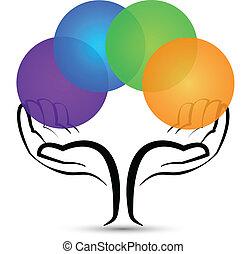 logotipo, forma, albero, mani