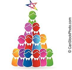 logotipo, forma, albero, natale, persone
