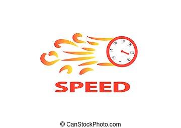 logotipo, fuoco, velocità, contachilometri, fiamme, vettore