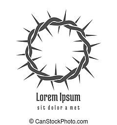 logotipo, gesù, corona, spine