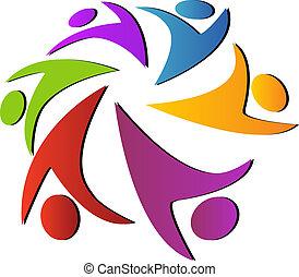 logotipo, globale, lavoro squadra