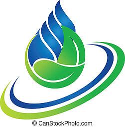 logotipo, goccia, foglia verde, acqua