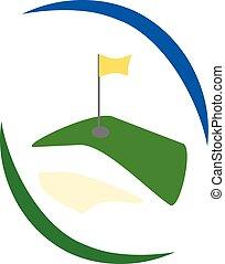 logotipo, golf verde, campo