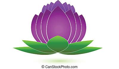 logotipo, icona, vettore, fiore, loto