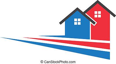 logotipo, immagine, due, zebrato, case