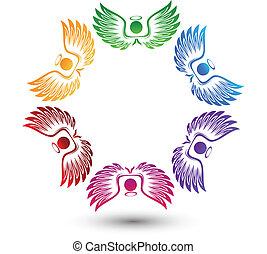 logotipo, intorno, angeli