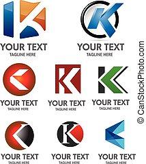 logotipo, k, set, lettera