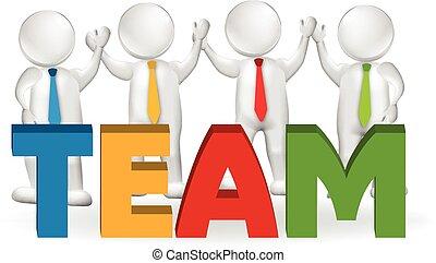 logotipo, lavorante, 3d, lavoro squadra, funzionari