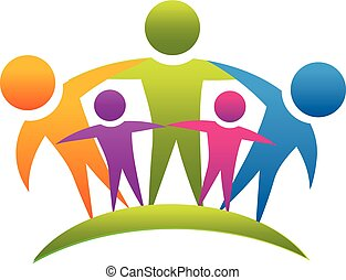 logotipo, lavoro squadra, abbracciare, famiglia, persone