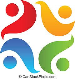 logotipo, lavoro squadra, abbraccio