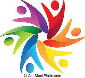 logotipo, lavoro squadra, affari, swoosh