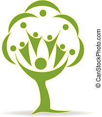 logotipo, lavoro squadra, albero, persone