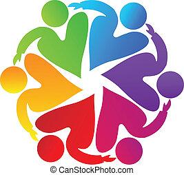 logotipo, lavoro squadra, carità, persone