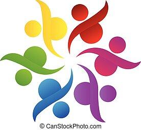 logotipo, lavoro squadra, comunità, aiuto