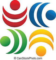 logotipo, lavoro squadra, comunità, persone