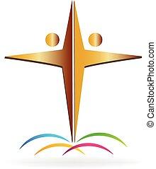 logotipo, lavoro squadra, croce