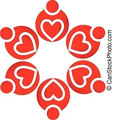 logotipo, lavoro squadra, cuori amore
