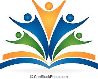 logotipo, lavoro squadra, educazione, libro