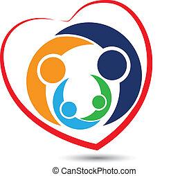 logotipo, lavoro squadra, famiglia, cuore