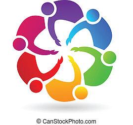 logotipo, lavoro squadra, handshaking