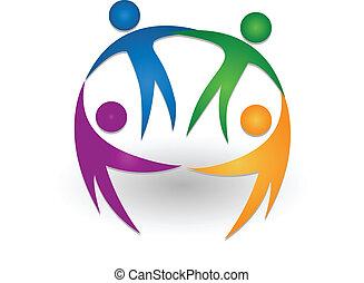 logotipo, lavoro squadra, insieme, persone