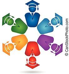 logotipo, lavoro squadra, laureati