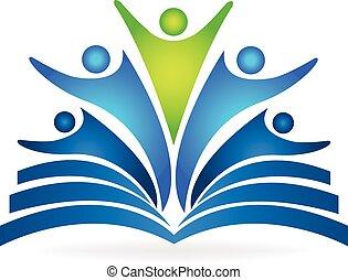 logotipo, lavoro squadra, libro, educativo