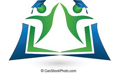 logotipo, lavoro squadra, libro, studenti