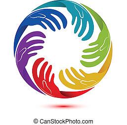 logotipo, lavoro squadra, mani