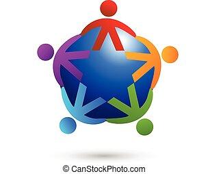 logotipo, lavoro squadra, media, sociale