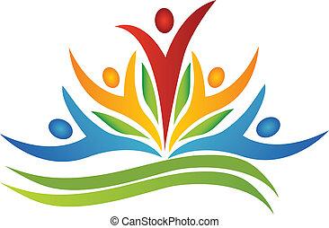 logotipo, lavoro squadra, mette foglie, fiore