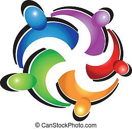 logotipo, lavoro squadra, persone, abbraccio