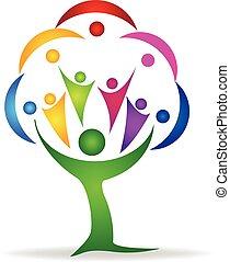 logotipo, lavoro squadra, persone, albero