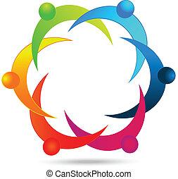 logotipo, lavoro squadra, persone, diversità