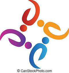 logotipo, lavoro squadra, persone, sociale