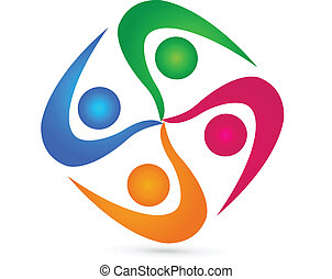 logotipo, lavoro squadra, persone, unità