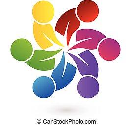 logotipo, lavoro squadra, persone