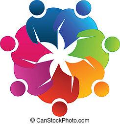 logotipo, lavoro squadra, riunione