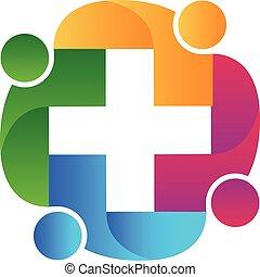 logotipo, lavoro squadra, sanità