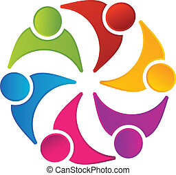 logotipo, lavoro squadra, unito, persone