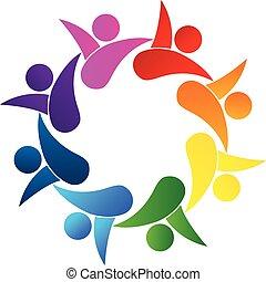 logotipo, lavoro squadra, vettore, concetto