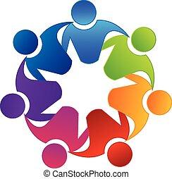 logotipo, lavoro squadra, vettore, unità