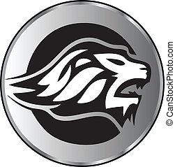 logotipo, leone, aggressivo, faccia
